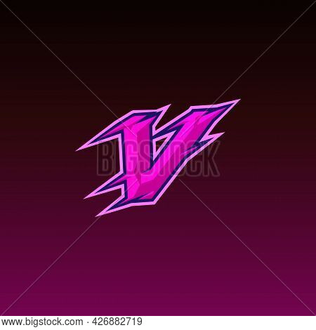 Professional V Letter Gaming Logo Vector Illustration