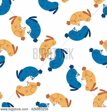 Seamless Cute Cartoon Pet Rabbit Doodle Pattern. Whimsical Minimal 2 Tone Gender Neutral Color. Kids