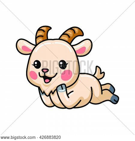 Vector Illustration Of Cute Baby Goat Cartoon Laying Down