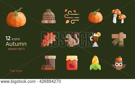Autumn Season Flat Design Icon Vector Set. Fall Seasonal Detailed Glossy Brightness Glyphs For Decor