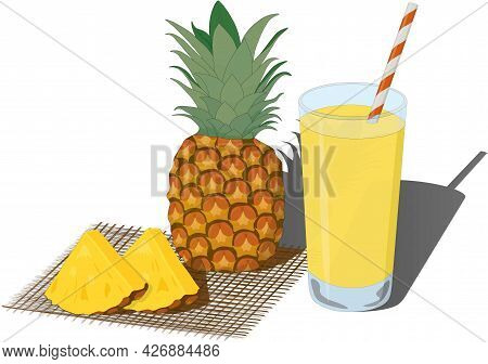 Glass Of Fresh Pineapple Juice And Whole And Cutted Pineapples Vector Illustration