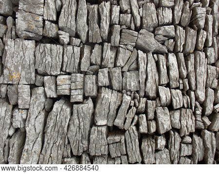 Closeup Of Limestone Blocks Used To Build An Ancient Fortified House, Black Rock, The Burren, Co Cla