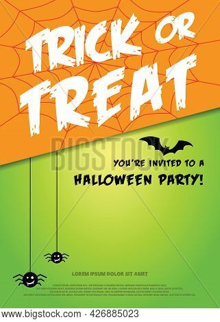 Happy Halloween Trick Or Treat With Spider Web And Spider And Bat On Green Background, Vector Illust