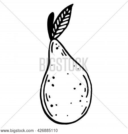 Pear Vector Icon. Isolated Illustration On A White Background. Hand-drawn Doodle. Black Outline Of A