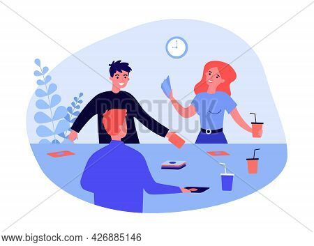 Friends Playing Cards And Drinking Cocktails. Flat Vector Illustration. Young Men And Woman Playing