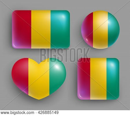 Set Of Glossy Buttons With Guinea Country Flag. Western Africa Country National Flag, Shiny Geometri