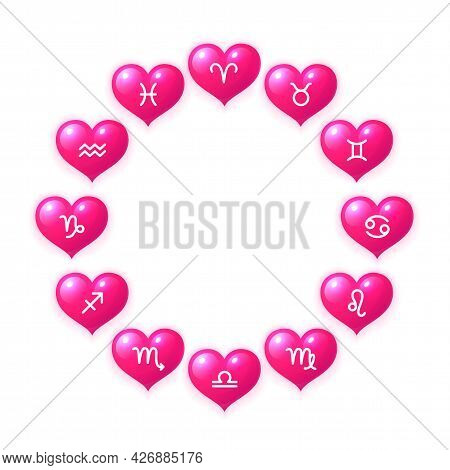 Hearts With Zodiac Signs Inside In Circular Shape. Twelve Glossy Pink Hearts Astrological Symbols. L