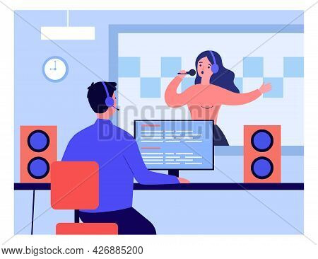 Woman With Headphones And Microphone Recording Song. Flat Vector Illustration. Sound Engineer Editin