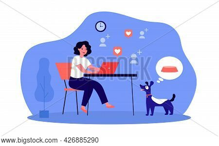 Woman Working At Computer While Her Dog Hungry. Flat Vector Illustration. Girl Passionate About Comm
