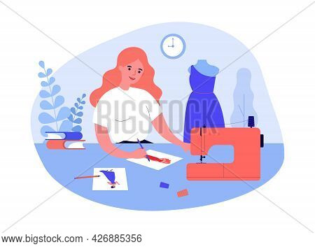 Cartoon Girl Sewing Clothes Flat Vector Illustration. Woman Drawing Sketches Of Future Model Of Dres