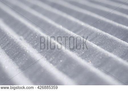 Close-up Groomed Snow At Ski Resort, Velvet Snow