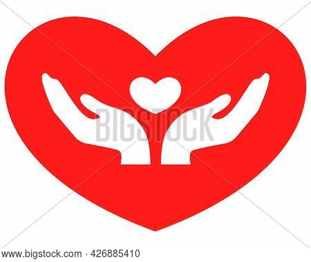 Uniting People, United Community, The Concept Of Equality Of People, Two Palms, Hands Holding A Hear