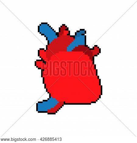 Anatomical Heart Pixel Art. 8 Bit Internal Organ Vector Illustration