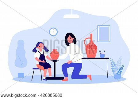 Mom And Daughter Making Clay Vases. Flat Vector Illustration. Woman And Girl In Apron Creating Potte