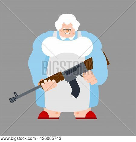 Grandma With Gun. Old Woman With Weapon.