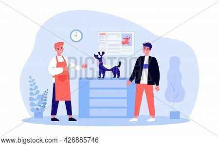 Man Bringing His Dog For Haircut To Groomer. Flat Vector Illustration. Owner Taking Care Of Appearan