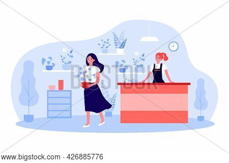 Happy Girl Leaving Store With Plant. Flat Vector Illustration. Interior Of Florist Shop, Seller At C