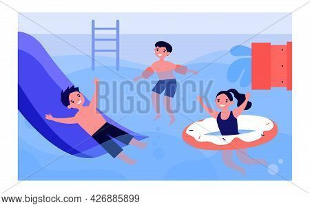 Happy Children Having Fun In Swimming Pool. Boy On Waterslide, Kid In Inflatable Armbands, Girl With