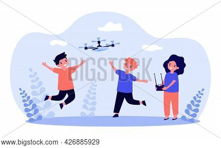 Children Flying Drone Outside. Girl Controlling Drone With Remote, Boys Running And Jumping Flat Vec