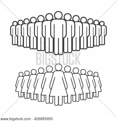 Large Group Of Men And Women. People Crowd Line Icon. Persons Symbol Isolated. Vector Illustration.