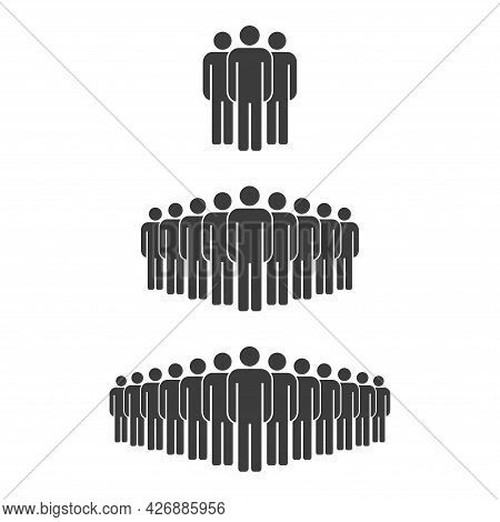 Small, Medium And Large Group Of People. Male People Crowd Silhouette Icon. Persons Symbol Isolated.