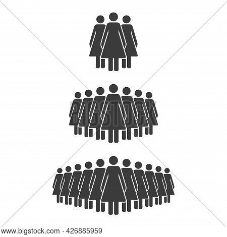 Small, Medium And Large Group Of Women. Female People Crowd Silhouette Icon. Persons Symbol Isolated