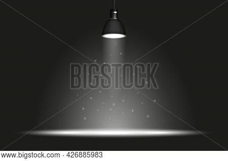 Black Lamp With Spotlight In Dark Room. Wide Light Spot. Magic Sparkles. Concert Lighting, Stage Lig