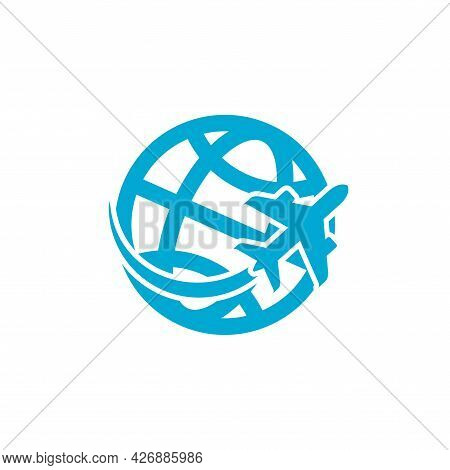 Airplane Around The Globe Blue Emblem. Global Tourism Symbol. Jet Flying Around Earth Icon. Vector I