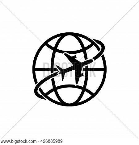 Airplane Around The Globe Black Emblem. Global Tourism Symbol. Jet Flying Around Earth Icon. Vector