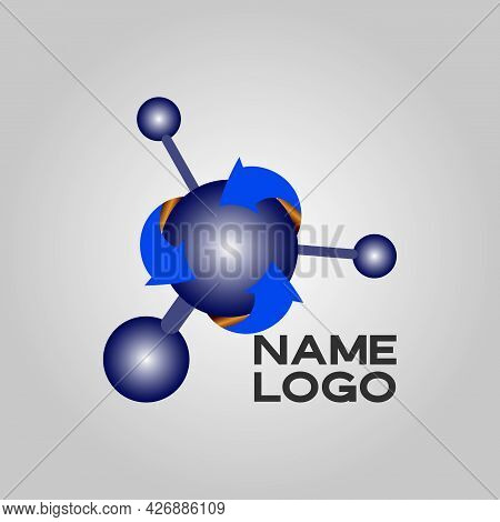 Modern Logo Design For The Atom. Atom Belong To The Periodic System Of Atoms. There Are Ion Pathways