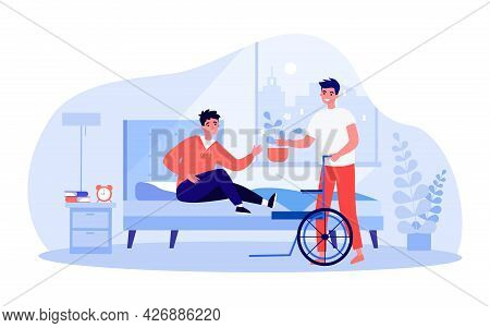 Friend Or Assistant Helping Man Get On Wheelchair From Bed. Disabled Person In Bedroom Flat Vector I