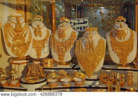 Misrata, Libya - April 1, 2006: Gold Necklaces, Bracelets, Rings And Earrings Glistening In The Even