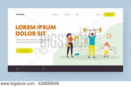 Happy Family Exercising In Gym. Parents, Kids, Weightlifting, Jumping Rope Flat Vector Illustration.