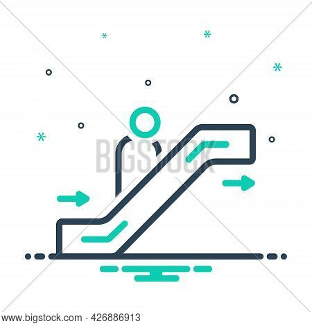 Mix Icon For Escalator Passenger Stairway Lift Electronic Walkway