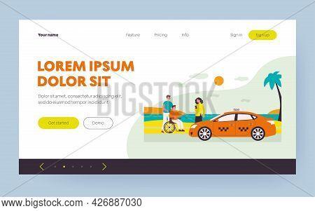 Woman Ordering Taxi For Handicapped Man. Sea, Car, Wheelchair Flat Vector Illustration. Transportati