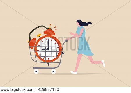 Buying Time To Delay Or Gain More Time To Do Something, Time Is Money, Young Adult Woman Buying Time