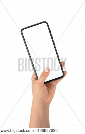 Human Hand Holding Smartphone, Finger Touching Blank Screen On White Background Isolated Close Up, W
