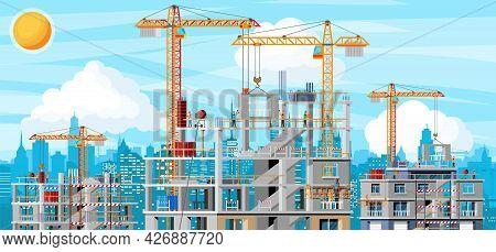 Construction Site Banner Landscape. Rooftop, Workers, Concrete Piles, Tower Crane. Under Constructio
