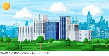 City Park Concept. Urban Forest Panorama. Cityscape With Buildings And Trees. Sky With Clouds And Su