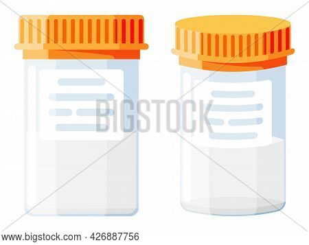 Semen Test Tube Isolated On White. Medical Sample In Glass Tube. Laboratory Container With Sperm. Sp