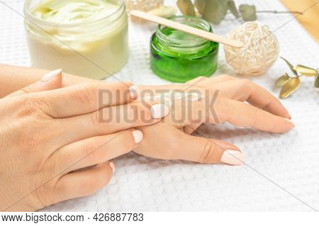 Hand Skin Care. Closeup Of Beautiful Mature Adult Female Hands With Natural Manicure Nails. Close Up