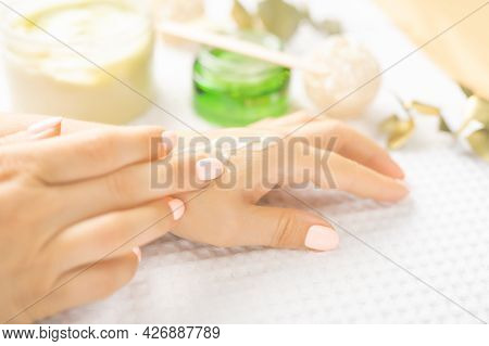 Hand Skin Care. Closeup Of Beautiful Female Hands With Natural Manicure Nails. Close Up Of Woman's H
