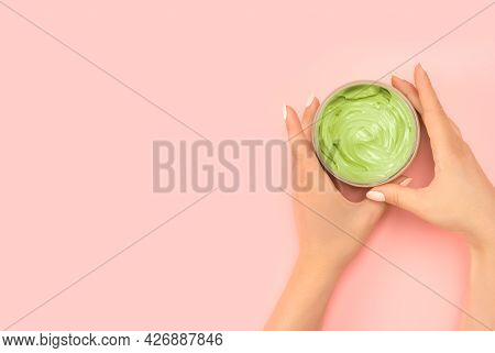 Skin Care With Natural Cosmetics. Women's Hands Hold A Jar Of Natural Cosmetics. Cream. Eco Cosmetic