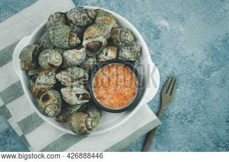 Steamed Areola, Spotted Babylon With Seafood Dipping Sauce. Top View