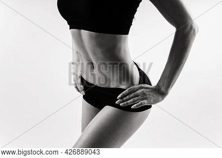 Female In Studio, Beautiful Fitness Sport Woman's Body Is In Underwear