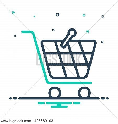 Mix Icon For Shopping Supermarket Basket Buy Cart Store Online Hypermarket Ecommerce Purchase Trolle
