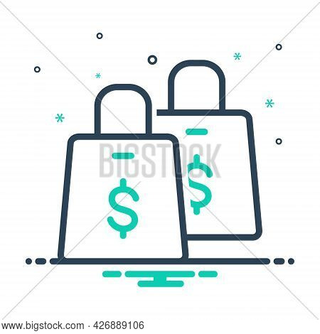 Mix Icon For Shopping Supermarket Bag Shopping-bag Store Online Ecommerce Purchase