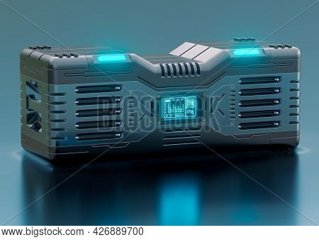 Hi-tech Futuristic Sci-fi Container Isolated On Metallic Background. Concept Of Military Equipment A