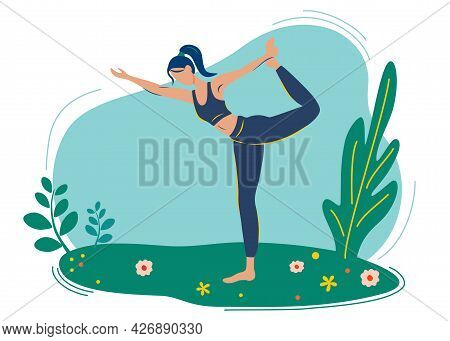 Girl Does Yoga In Nature, In The Park, Enjoying The Tranquility. Outdoor Yoga. Sport, Pregnancy, Hea