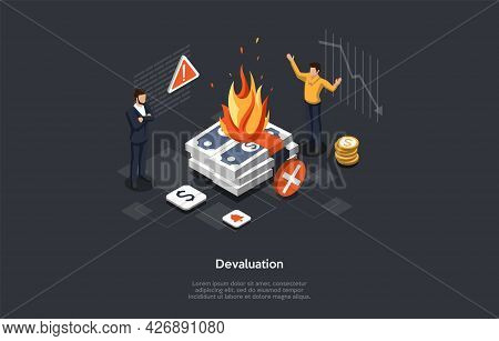 Isometric Vector Illustration In Cartoon 3d Style. Composition On Dark Background With Infographics.